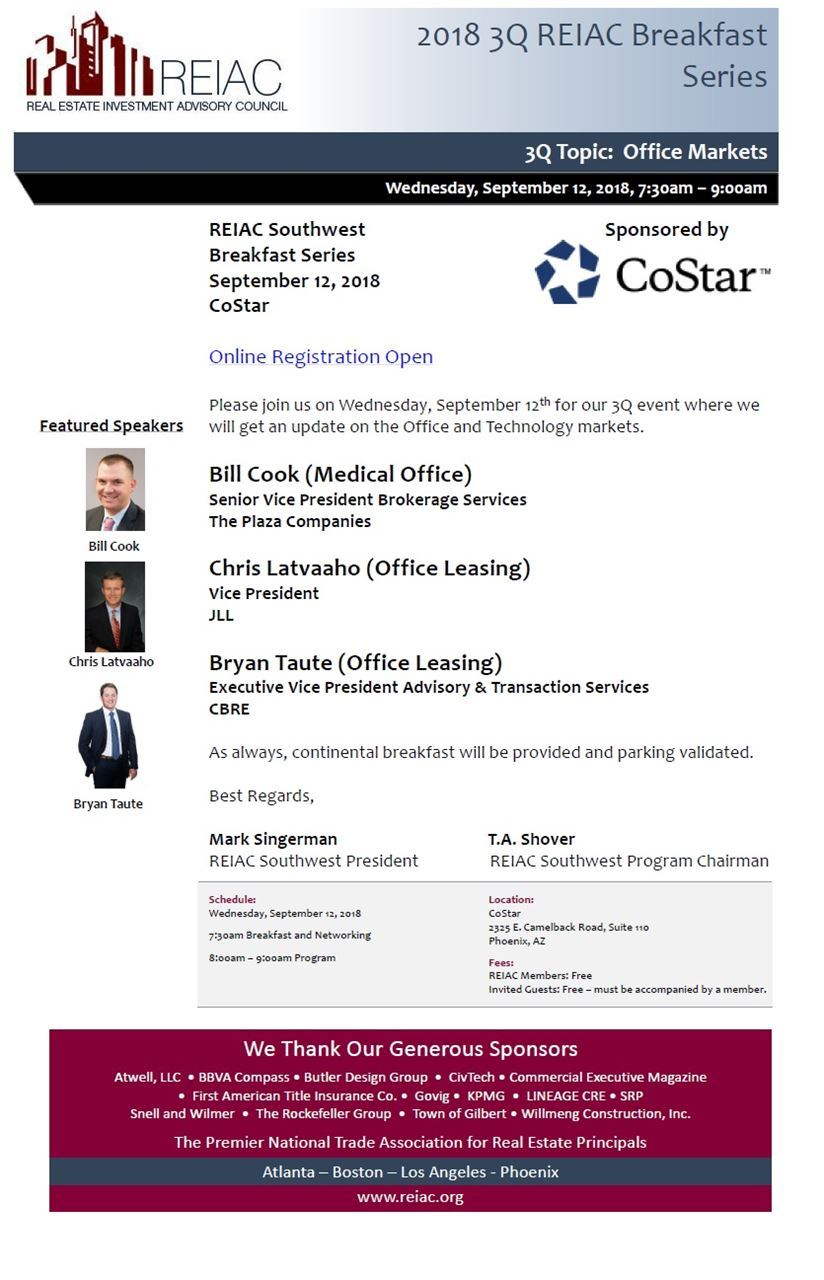 REIAC Southwest Breakfast Series 3Q: Office and Technology Markets @ CoStar | Phoenix | Arizona | United States
